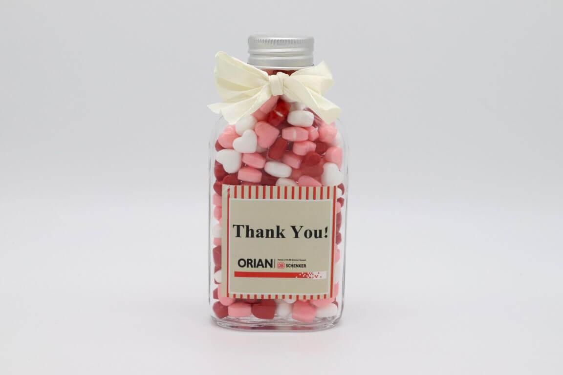 צנצנת תודה עם הקדשה אישית וסוכריות לב