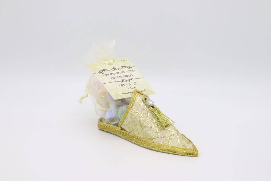 נעל מרוקאית במילוי סוכריות צבעוניות והקדשה אישית