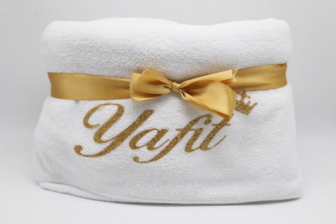 מגבת גוף עם שם אישי זהב נצנצים